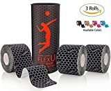FlexU - schwarzes kinesiologisches tape; Super Saver 3 Rollenpaket...