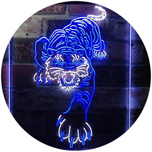 ADVPRO Tigers Man Cave Sport Dual Color LED Barlicht Neonlicht Lichtwerbung Neon Sign White & Blue 8.5