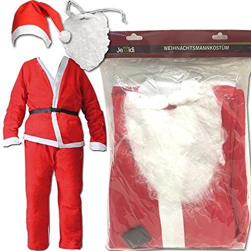 Weihnachtsmann Kostüm 5 Teilig Nikolaus Santa Claus 5 teilig Verkleidung Set