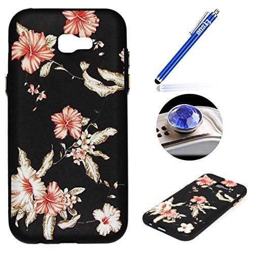 Coque pour Galaxy A3 2017,Étui Galaxy A3 2017 Case,ETSUE Coque Galaxy A3 2017 Slicone TPU Cover Housse de Téléphone avec Joli FleurTournesol fleur de pêcher en Relief ave Fond Noir Ultra Mince Coque G Rose Fleur 5#
