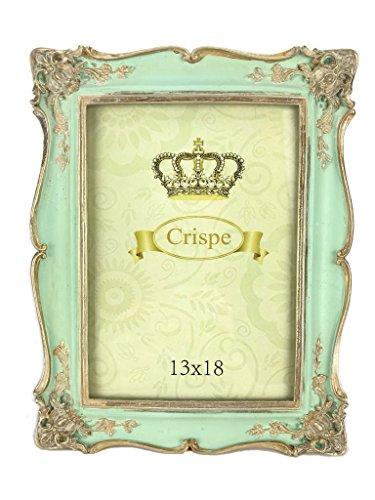 Crispe Bilderrahmen Torino im Antik-Look in Türkis mit antikgoldenen Verzierungen Größe 22,5 x 17,6 x 1,8 cm - Bildmaß 13 x 18 cm Rahmen Bild Foto Barock (Baby Chic Shabby)