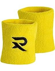 Raquex Coppia di polsiere in cotone, fasce per il sudore, per squash, tennis, volano, Yellow, Taglia unica