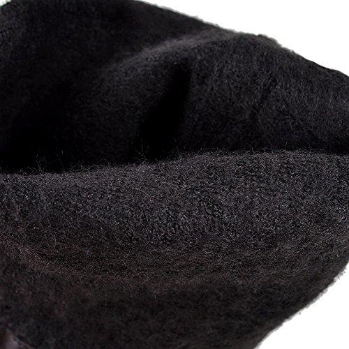 Bottes Métal Unie Lacet Haut Couleur AgooLar Haut Élevé Noir Talon à Femme avec wf1Cqzn4