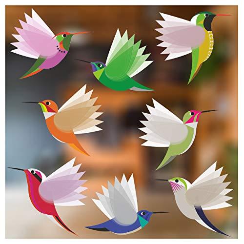 Stickers4 Vogel-Fensteraufkleber zum Schutz gegen Vogelschlag - Acht Große schöne exotisch Kolibri-Glasaufkleber, doppelseitig und selbstklebend zum Schutz gegen Vogelkollisionen - Acht Große