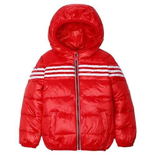 SANMIO Kinder Daunenjacke mit Kapuze Streifen Schneeanzüge Baby Jungen Mädchen Winterjacke Schneeanzug Kleinkind Wintermantel Gepolsterte Outfits