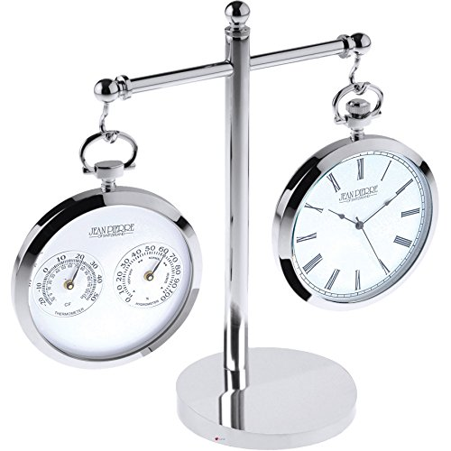 I Luv LTD Thermometer and Clock Set in Pocket Watch Style on Double Stand - Gift Box