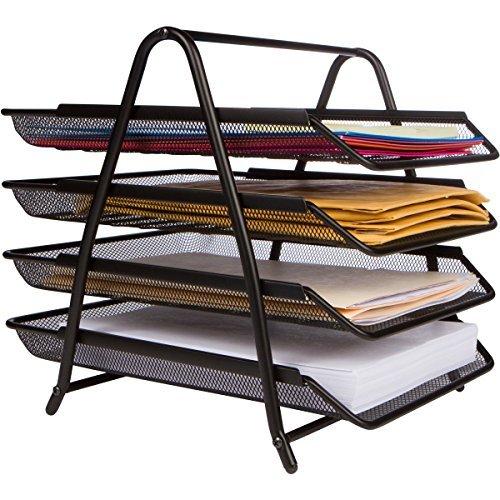 """Oficina Organizador de escritorio–montaje en 5minutos """"–33% más espacio con 4bandejas–Papel, carta y archivo de escritorio Holder"""