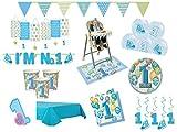 XXL Party Deko Set 1.Geburtstag Junge blau 68 teilig Kindergeburtstag