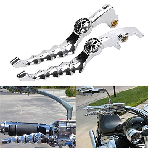 Motorrad geändert Schädel Bremse Bremshebel Kupplungshebel Griff für Honda Shadow 750 1100 CBR600 F2 F4i (Chrom)