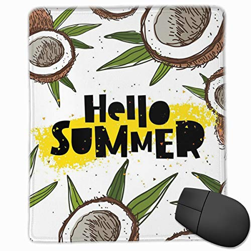 Preisvergleich Produktbild Mouse Mat Stitched Edges,  Abstract Summertime Concept Wording In Trend Lettering And Coconut Halves, Gaming Mouse Pad Non-Slip Rubber Base