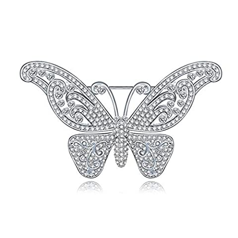 Hanie Silver Butterfly Brooch White Round Crystal Bride Jewellery