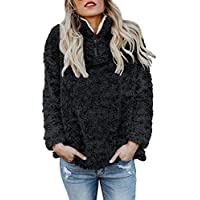 Aleumdr Womens Fashion Solid Zip Up Cozy Fuzzy Fleece Pullover Sweatshirt Coat Outwear Tops