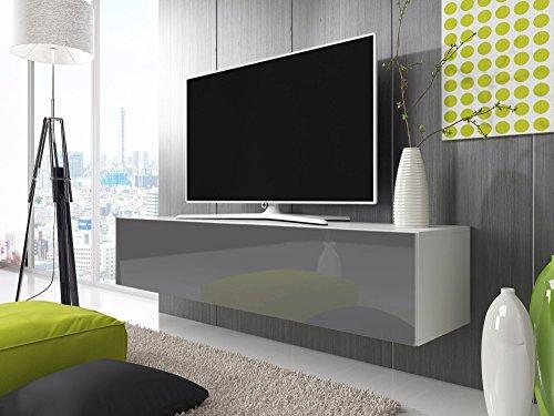 TV-Lowboard Schrank Simple (weiß matt / glänzend grau)
