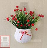 Artificial Plants LighSCH LighSCH Künstliche Fake Blumen Pflanzen Wandmontage Seide Jasmin Rot NO-038