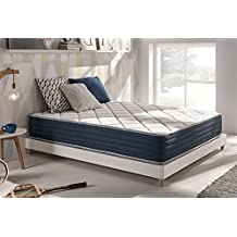 Naturalex - Matelas Supervisco 180 x 200 cm en mousse Blue Latex® + mémoire de forme Thermosoft® à 7 zones de confort + faces été/hiver 25 cm, Ferme