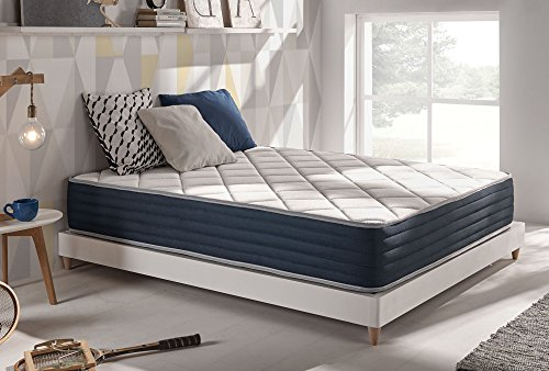 Naturalex | Matelas Supervisco 160x200 cm |Mousse A Mémoire De Forme Thermosoft | Nouveau Système Hq Multicouches Blue Latex Support Adaptatif A 7 Zones De Confort Rest Foam Soft Latex 70 Kg/M3 Qualité Supérieure Pour Plus De Confort