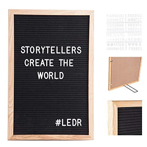 LEDR - Letter Board aus Holz und Filz 30 x 45 cm - Schwarz/Natur | Buchstaben Tafel Buchstabenbrett Rillentafel Stecktafel mit 354 weißen Buchstaben & Zahlen und einstellbar Ständer - Retro Design