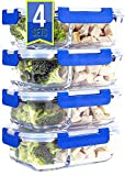[Premium 4 Pack] 2 Compartment Glass Meal Prep Containers 8-Piece Set with Snap