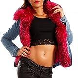 Made Italy Damen Jeansjacke Blouson Jacke Jeansjacke mit Kunstfell, Farbe:Pink;Größe:38