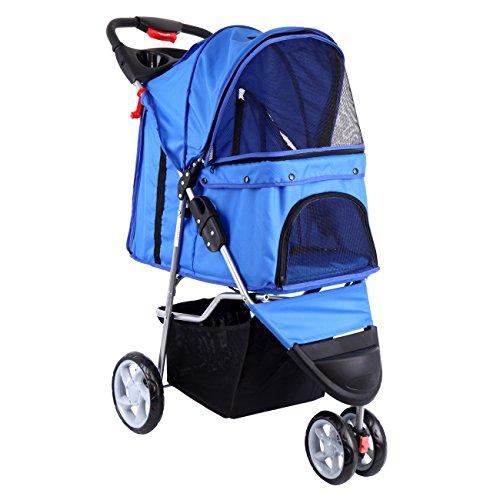 Paneltech Hundewagen Hundebuggy Hunde Buggy Pet Stroller mit Becherhalter&Einkaufstasche Pet Buggy zum Transport von Hunden/Vierbeinern (Blau)