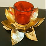 Ethnic Golden Metal Tea Light Holder For Pooja Ghar / Diwali/ House Warming Decoration With Glass Tea Light Holder