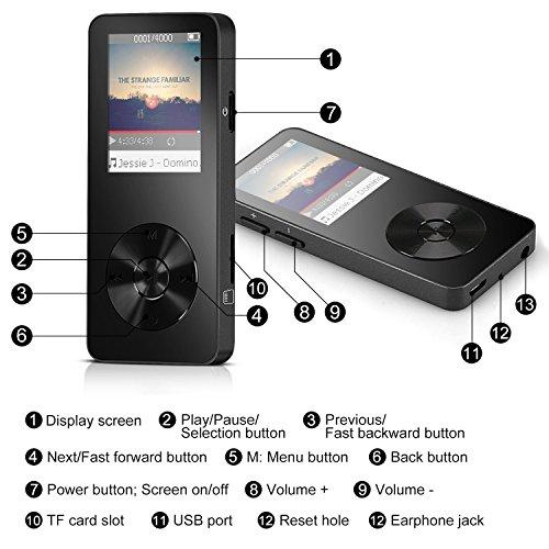 """AGPTek M28- Metal Reproductor de MP3 16 GB pantalla de 1,8"""" con FM radio y Banda del brazo ajustable, Negro"""