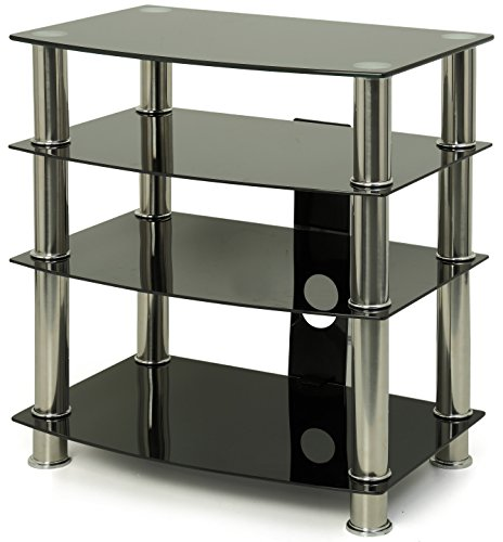 ts6 4-shelf Glanz-Schwarz Mit Silber Beine flach Bildschirm TV/Hi-Fi/AV Rack Glas Ständer ()