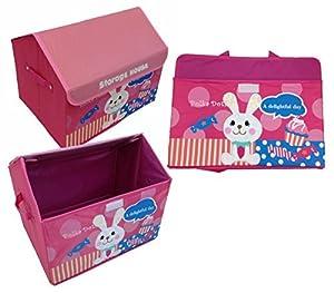 GMMH Diseño Caja Juegos Casa Conejo 42 cm x 31 cm x 34 cm Caja de Almacenamiento Caja de Juguetes Compartimiento de almacenaje Muebles para niños