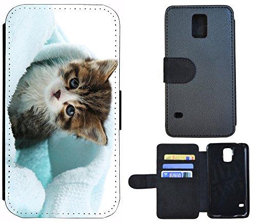 Schutz Hülle Flip Cover Handy Tasche Etui Case für (Apple iPhone 4 / 4s, 1290 See Berge Panorama) 1299 Katze Kätzchen Braun Blau