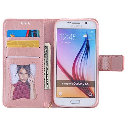 Custodia Galaxy S6 - Cover per Samsung Galaxy S6 - ISAKEN Fashion Agganciabile Luminosa Custodia con LED Lampeggiante PU Pelle Portafoglio Tinta Unita Cover Caso per Samsung S6, Luxury Protettivo Skin Rose Gold