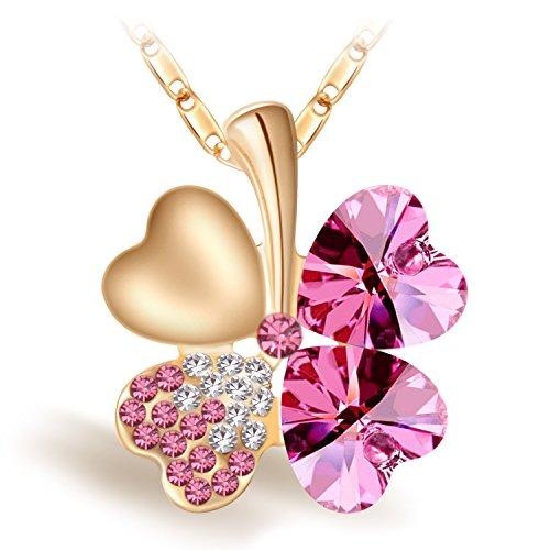 Joyfulshine Damen Kette Anhänger Halskette,18k Vergoldet Vier Blatt Klee Herzform Rosa Kristall Anhaenger,Regalo für Frauen Mädchen Giovani -