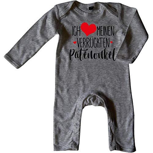 Mikalino Baby Schlafanzug Ich Liebe Meinen verrückten Patenonkel 100% handbedruckt in Deutschland - bei 60 Grad waschbar mit Spruch, Grösse:6-12 Monate, Farbe:Heather