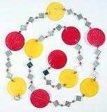 Guru-Shop Bunte Muschelkette, Sonnenfänger 140 cm - Rot/gelb, Muschelscheiben, Traumfänger & Mobiles