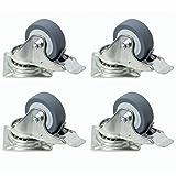 4 Stück Kugellager-Lenkrollen 50mm, kugelgelagerte Rollen mit Bremse als Transportrolle auch für Möbel oder Strandkörbe als Set bestehend aus Schwerlastrollen, Raddurchmesser:50