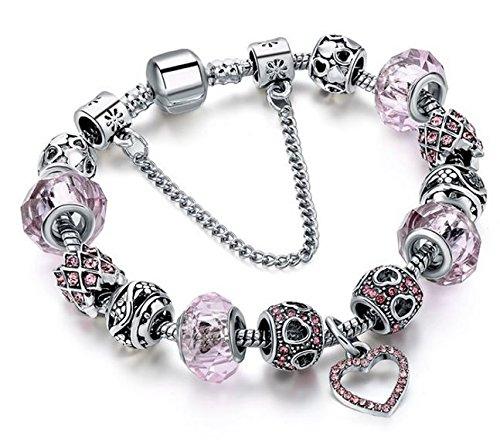 BS - Nouveauté Bracelet Charms - Plaqué Argent, Breloques Cristal et Verre Véritable - Rose - Collection 'Boîte de Pandore' Exclusive 2018