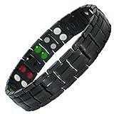 MPS® 5 bioéléments Titane bracelet magnétique avec boucle déployante et des aimants puissants, 3000 gauss chacun. Avec outil gratuit pour enlever liens.