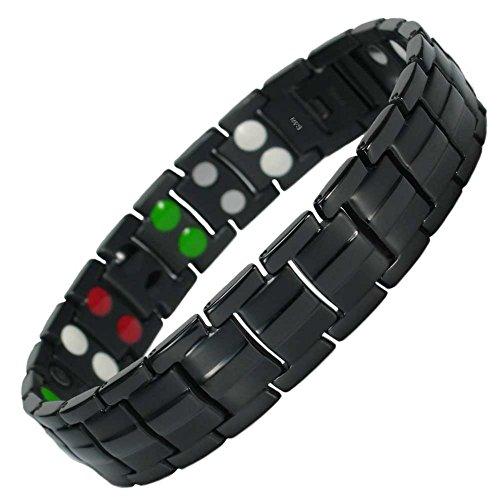 MPS® Titan 5 Elements magnetische Armband für Männer mit Klappschließe, Leistungsstarke 3000 Gauß Magneten, und gratis Geschenk Beutel