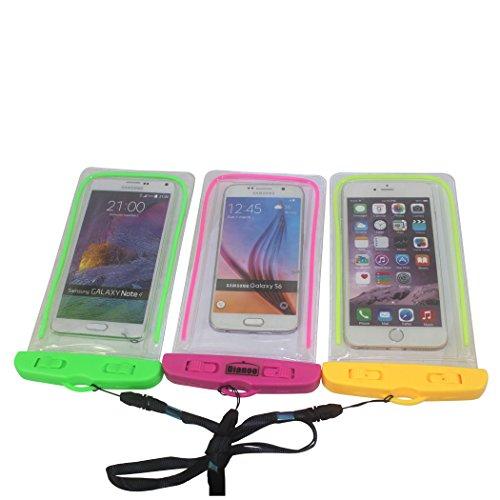 Dianoo 3PCS Wasserdicht Mobile Telefon Tasche, Universal- Floreszenz Licht Wasserdicht Schneesicher Schmutzabweisend Beutel Fall, Handy-trockenbeutel Zum Schwimmen (Zufällige Farbe)
