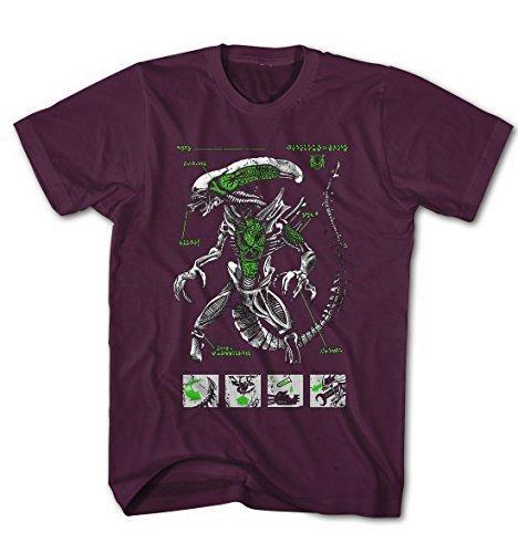 Herren T-Shirt Alien Blaupause Nostromo Prometheus Wesen Movie Burgunder
