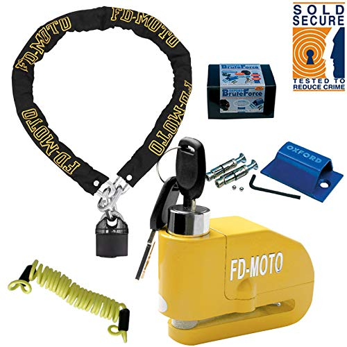 FD-MOTO 1,8M * 10mm Motorrad Kettenschloss Vorhängeschloss + Alarm Disc Lock 110DB + Oxford Bodenanker