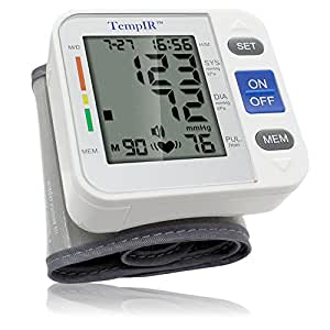 Blood Pressure Monitor - large Cuff Adjusts to Fit Most Wrist Sizes - Measures Pulse Diastolic Systolic and Shows Hypertension level - Time and Date with Memory Store last Readings -  Ebook with this TempIR Machine - Titled How to Control Blood Pressure - no Hassle Lifetime Guarantee
