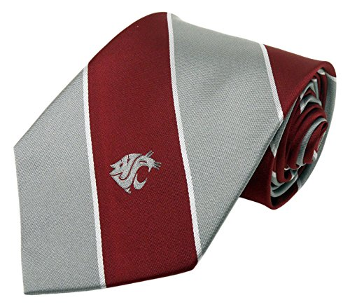 NCAA Washington State Cougar Traditionelle Gestreift Krawatte, rot, one size