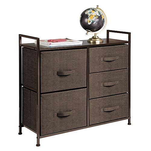 mDesign Cómoda de tela - Estrecho organizador de armarios con 5 cajones - Práctico mueble cajonera para el dormitorio, la habitación infantil o zonas pequeñas - Armario con cajones - marrón café