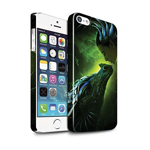Officiel Elena Dudina Coque / Clipser Brillant Etui pour Apple iPhone SE / Pack 5pcs Design / Dragon Reptile Collection Écailles Vertes