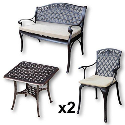 Lazy Susan - Table basse de jardin carrée SANDRA, 1 banc ROSE et 2 chaises assorties - Meubles en aluminium moulé, coloris Bronze Ancien (coussin beige)