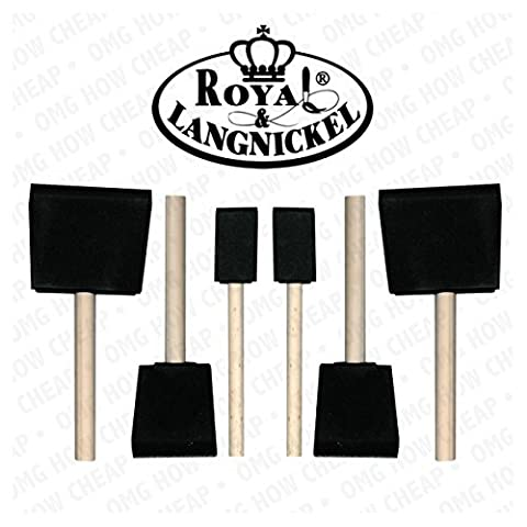 Royal and Langnickel 6 Art Foam Brush Set - 2 x 1 inch, 2 x 2 inch and 2 x 3 inch