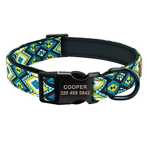 Benutzerdefinierte Hundehalsband Benutzerdefinierte Nylon Haustier Hundehalsbänder Plaid Gedruckt Welpen Hundehalsbänder For Große Hunde Medium Eingraviert Typenschild (Cor : Azul, Tamanho : S) -