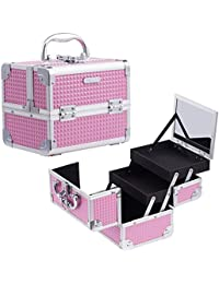 Joligrace Girls Makeup Box with Mirror Cosmetic Case Jewelry Organiser Light Weight Lockable with Keys