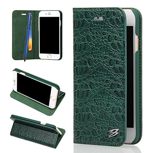 iPhone 6S/6 Echtem Leder Hülle,Careynoce Luxus Handgefertigt Echtem Leder Brieftasche Magnetischen Flip Schutzhülle für Apple iPhone 6S iPhone 6(4.7 Zoll) -- Klassisches Krokodil muster (Grün) (Krokodil-leder-brieftasche Echte)