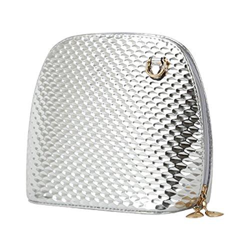 crossbody borsa - TOOGOO(R)criss casuale croce piccolo guscio signore frizione donne della borsa del partito di sera spalla borsa borse crossbody Nero Argento